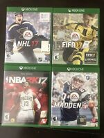 Madden NFL 17, NHL 17, FIFA 17, NBA 2K17, Lot Of 4 (Microsoft Xbox One)