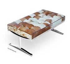 Cow Skin Leather Lounge Seating Bench Pony Real Fur Polished Steel Legs.
