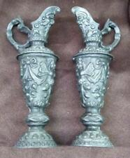 Old Antique Spelter Small Gothic Spelter Metal Ewer Pitcher Vases Set of 2 Two