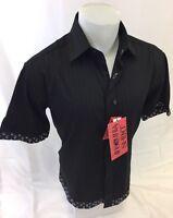 Mens INSOMNIA By MANZINI SHORT SLEEVE Dress Shirt BLACK PAISLEY TRIM ROAR INS-10