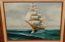 ZEGON ORIGINAL OIL ON CANVAS SAILING SHIP AT SEA PAINTING