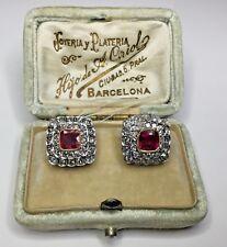 Estate Antique Art Deco  3.38CTW Diamond & Burmese Ruby Platinum Clipon Earrings