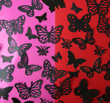 100 decorative butterflies BLACK  for cardmaking, wedding confetti, display