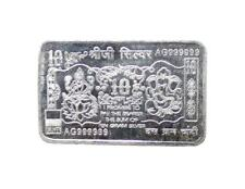 Pure Silver 999 Rectagular plate coin Indian God Lakshmi Ganesh Diwali Gift