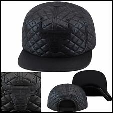 Mitchell & Ness Chicago Bulls Snapback Hat Cap All Black QUILTED