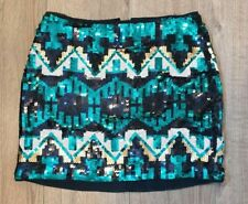 H&M green black and silver mini skirt size 10 all over sequins Aztec party xmas