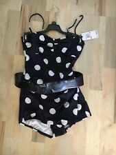 Michael Kors Collection $265 Retro Sheath Belted Polka Dot One Piece Swimsuit