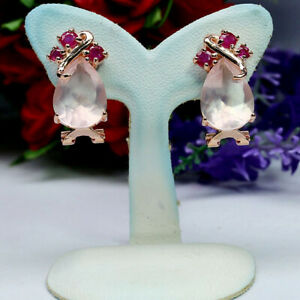 NATURAL 10 X 14 mm. PEAR ROSE QUARTZ & RED RUBY EARRINGS 925 STERLING SILVER