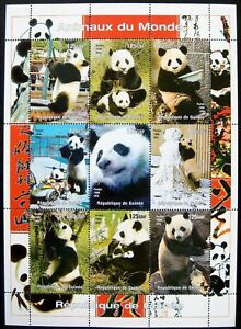 PANDA STAMPS SHEET OF 9 1998 MNH GUINEE GIANT PANDA BEAR WILD ANIMALS WILDLIFE
