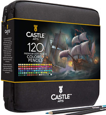 Castle Art Supplies 120 Colored Pencils Zip-Up Set perfect for all artists. and