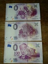 3 x 0 euro Turkei Scheine - TUAE/TUAF/TUAG - Ataturk - sifir euro