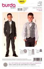 Burda Sewing Pattern 9433 Burda Kids Boys Suits Vest Pants Jacket Sizes 9-15 NEW