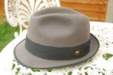 VTG Grey Fur Felt Ascot Stingy Fedora Trilby Hat EU 58 UK 7 1/8