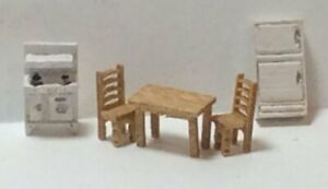 Dollhouse Miniature 1:144 Scale Traditional Style Kitchen Furniture Kit  (5 PCS)