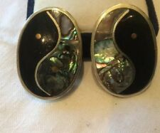 ALPACA Silver Abalone Shell CLIP-ON Earrings Mexico