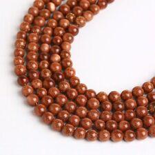 "Gold Sand Stone 8mm Round Beads 1 Strand 15.5"" Jewerly Making Gemstone AAA"