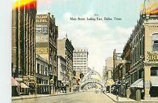 Texas, TX, Dallas, Main Street Looking East 1910's Postcard