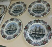 4 Churchill Currier Ives Tall Ship Plates GREAT REPUBLIC 10 in plates Mint