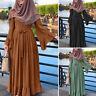 Women Muslim Long Sleeve Belted Ruffles Elegant Party Prom Gown Maxi Abaya Dress