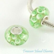 CALLA LILY GREEN FLOWER MURANO GLASS .925 Sterling Silver EUROPEAN Bead Charm
