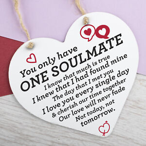 First Valentines Hanging Sign Gift Girlfriend Boyfriend For Him Her SOULMATE