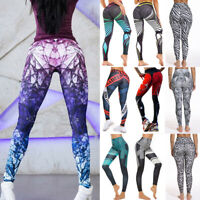 Women High Waist Yoga Pants Printed Gym Leggings Sports Fitness Trousers Workout