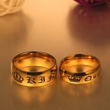 .0..Black Ring Stainless Steel HIS QUEEN and HER KING Couple Rings Lovers Gifts