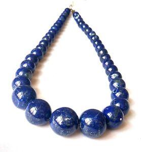 Natural Lapis Lazuli Gemstone 10-20mm Smooth Round Beaded Long Necklace
