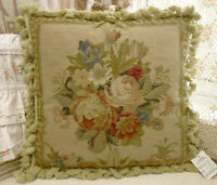 "18""Shabby Chic Beautiful Buds & Blooming Floral Bouquet Needlepoint Pillow Cover"