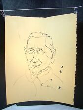 Abstract  Portrait of a Man Original Ink 1954 by C. Schattauer Kelm