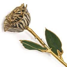 Flowers & Leaves Lacquer Dipped 24K Gold Trim Single Stem Cream Black Zebra Rose