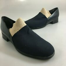 Munro American Womens 7.5 M Blue Stretchy Fabric Leather Loafers Slip-On Shoes