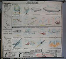 Schulwandkarte schöne alte Menschenflug Entwicklung Fliegen 199x185 vintage~1957