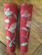 RARE Chinese ANTIQUE silk textile EMBROIDERED 2 RED FAUX FLAME PILLAR CANDELABRA