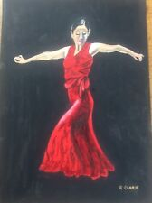 Signed Watercolour Painting Spanish Andalusian Romani Flamenco Dancer Red Dress