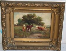 SuperB Antique French School Oil Painting on Canvas Cow Pasture w a Maid 2 of 2