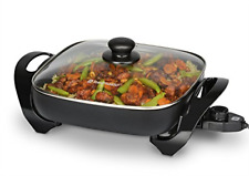 """11 Electric Skillet Nonstick Frying Pan Tempered Glass Lid 900W Adjustable Temp"""""""