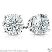 4 Ct Round Earrings Studs Solid 18K White Gold Brilliant Cut Screw Back Basket