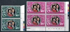 FIJI - 1972 Royal 25th Wedding Anniversary Pair and Block MNH