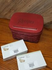 """New ListingLongaberger Recipe Basket Red or maroon with liner protector and cards 8 x 5.5"""""""