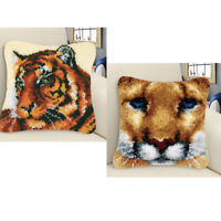 2 Sets Tigers Pillow Case Large Latch Hook Kits for Kids Adults Embroidery