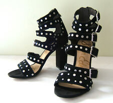 NEW! Sam Edelman Black Studded Suede Leather YORK Heels Sandals 6 M $175