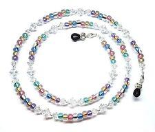 Metallic Color Lined / Austrian Crystal Bead Mix Eyeglass Chain Holder