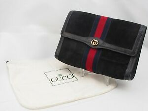 【Rank B】Auth GUCCI Vintage Pouch Clutch Sherry Line Suede Leather JapanA95