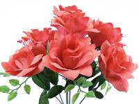 """2 Bushes CORAL Open Rose Artificial Silk Flowers 15"""" Bouquet 7-039 CL"""