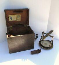 RARE 1880s W&LE GURLEY Vernier Transit Compass in Orig Case w Prism Survey Tool
