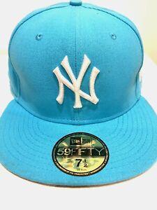 NEW YORK TURQUOISE FLAT PEAK BASEBALL CAP, NEW ERA FITTED HAT, HIP HOP RETRO