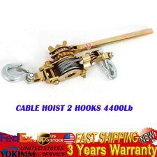 Portable 2ton Hand Lever Puller Come Along Cable Hoist 2 Hooks 4400lb Heavy Duty