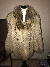 Tanuki Fur Coat Jacket Fox Fur Raccoon Dog Coat Dyed Feathered