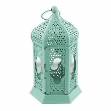 Rustic Green Metal Lantern Candle Tealight Holder